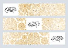 Happy Easter background. Good design template for banner, greeting card, flyer. Ornamental white bunny, eggs and flowers. Vector illustration Royalty Free Stock Photo