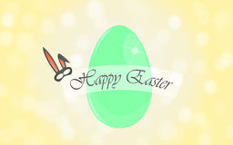 Happy Easter. Easter background with green egg and mask of Easter bunny Stock Photos