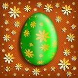 Happy Easter background - green egg on orange background stock illustration