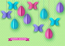 Happy easter background with hanging  papercut   eggs. And  butterfly. Spring. Vector flat design poster, greeting  card  template Stock Image