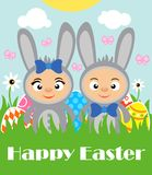 Happy Easter background with kids in rabbits costume. Vector illustration Royalty Free Stock Images