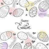 Happy Easter background and lettering, eggs, twigs and hearts Stock Photography