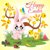 Happy Easter background meadow with cute chicken and rabbit, ladybug, butterfly near an orange tree Stock Image