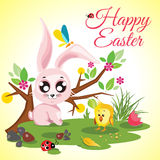 Happy Easter background meadow with cute chicken and rabbit, ladybug, butterfly and tree. Vector illustration Stock Photos
