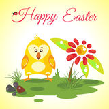Happy Easter background meadow with cute chicken and red flower Stock Photo