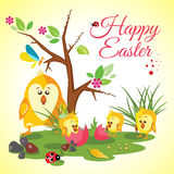 Happy Easter background meadow with cute chickens family, ladybug, butterfly and tree. Vector illustration Stock Photography