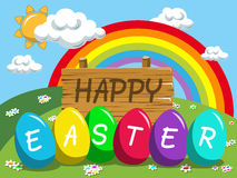 Happy Easter background multicolored easter eggs outdoor Royalty Free Stock Photos