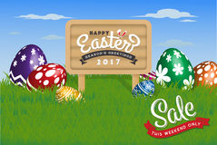 Happy Easter Background. Painting Eggs Hidden on Grass and Happy Easter Typographic on Wooden Sign Board. Vector illustration Royalty Free Stock Photos