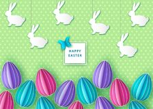 Happy easter background with papercut colorful  eggs  and  bunny. Vector flat design poster, greeting  card  template Royalty Free Stock Photo