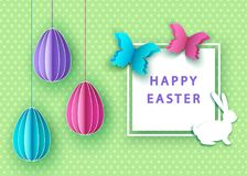 Happy easter background with  papercut  colorful  eggs,  butterf. Ly and  bunny. Spring. Vector flat design poster, greeting  card  template Stock Images