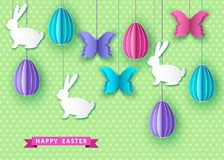 Happy easter background with papercut  eggs,  butterfly and  bun. Ny. Spring. Vector flat design poster, greeting  card  template Stock Image