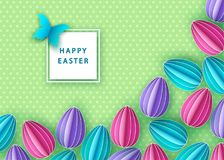 Happy easter background with  papercut eggs. Vector flat design poster, greeting  card  template Stock Photography