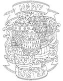 Happy Easter background with pattern coloring book page Stock Image