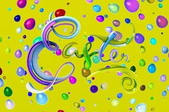Happy Easter background with plastic lettering word decorated by colorfull eggs. Invitation realistic 3d illustration stock photography