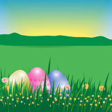 Happy Easter background or poster. Template Card with eggs, gras Royalty Free Stock Photo
