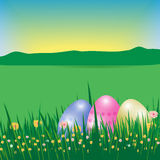Happy Easter background or poster. Template Card with eggs, gras Royalty Free Stock Image