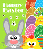 Happy Easter background with rabbit and chicken Stock Images