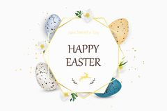 Happy Easter background with realistic decorated quail Easter eggs. Decorative frame with eggs, spring flowers, grass. Design template for Banner, flyer Stock Photos