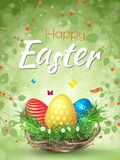 Happy Easter background with realistic Easter eggs. Easter. Card Stock Photography