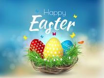 Happy Easter background with realistic Easter eggs. Easter. Card Stock Photo