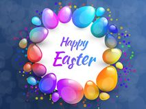 Happy Easter background with realistic Easter eggs. Easter card. Happy Easter background with realistic Easter eggs. Easter card Royalty Free Stock Images