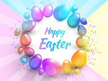 Happy Easter background with realistic Easter eggs. Easter card. Happy Easter background with realistic Easter eggs. Easter card Stock Image