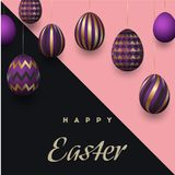 Happy Easter background with realistic golden decorated eggs and cute doodles. Greeting card trendy design. Invitation. Template Vector illustration for you Stock Photography