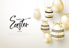 Happy Easter background with realistic golden shine decorated eggs. Design layout for invitation, greeting card, ad, promotion, ba stock illustration