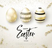 Happy Easter background with realistic golden shine decorated eggs and serpentine. Design layout for invitation. Greeting card, ad, promotion, banner, poster Stock Images