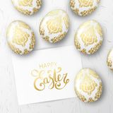 Happy Easter background with realistic white eggs. With golden floral elegant ornament and callidraphy text on paper. Minimalistic vector template, trendy stock illustration