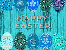 Happy Easter aqua turquoise background with colorful Easter eggs stock illustration