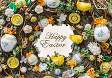 Happy Easter background. Spring motive. Greeting card with sign. Royalty Free Stock Image