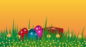 Happy Easter background. Template Card with eggs, grass, flowers Royalty Free Stock Photo