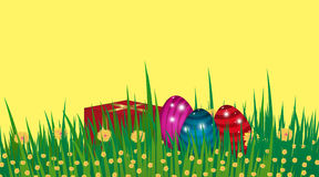 Happy Easter background. Template Card with eggs, grass, flowers Royalty Free Stock Image