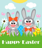 Happy Easter background with two funny rabbits Stock Images