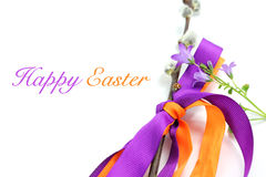 Happy easter background whit bellflower and ladybug Stock Images