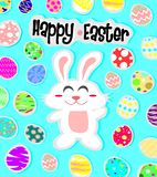 Happy easter background with white rabbit and egg stock illustration