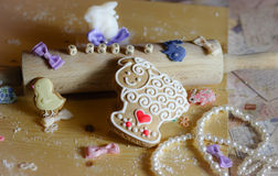 Happy Easter bakery flour Royalty Free Stock Photos