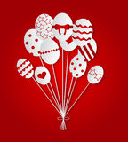 Happy Easter balloons background. Red vector royalty free illustration