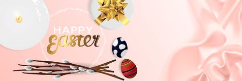 Happy Easter realistic horizontal banner flat lay top view royalty free stock image