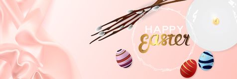 Happy Easter realistic horizontal banner flat lay top view stock photography