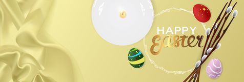 Happy Easter realistic horizontal banner flat lay top view stock images