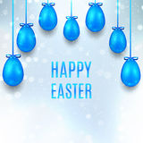 Happy Easter banner with blue eggs Stock Image