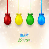 Happy Easter banner with color eggs Royalty Free Stock Photo