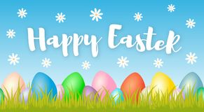 Happy easter banner with colorful eggs on spring background with white flower. For greeting card, promotion, party poster, decoration, sale, stamp, label, tag Stock Photos