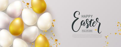 Happy Easter banner.Egg hunt. Beautiful Background with eggs and Golden serpentine. Vector illustration for website. Posters,ads, coupons, promotional stock illustration