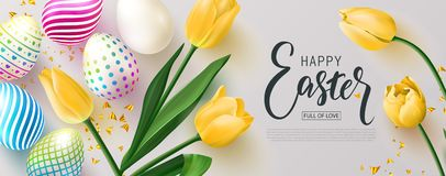 Free Happy Easter Banner.Egg Hunt. Beautiful Background With Colorful Eggs, Yellow Tulips And Golden Serpentine. Vector Stock Image - 139637661