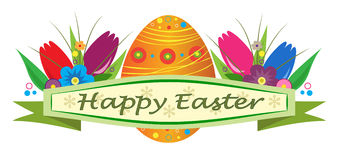 Happy Easter. Banner with Easter egg and tulips. Eps10 Stock Photo