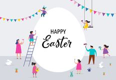 Happy Easter banner with families and kids. Happy Easter scene with families, kids. Easter street event, festival and fair, banner, poster design Royalty Free Stock Photo