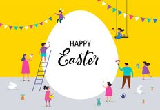 Happy Easter banner with families and kids. Happy Easter scene with families, kids. Easter street event, festival and fair, banner, poster design Royalty Free Stock Images
